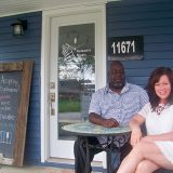 Geoffrey Kelsaw and Michele Shetter enjoy the front porch at Kelsaw's Music Study in downtown Fishers. (Photos by Sam Elliott)
