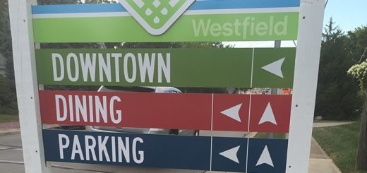 An example of one of the four signs installed around downtown Westfield. (Photo by Anna Skinner)