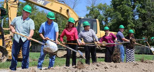 Officials from the planning department break ground on the new town hall. (Photo by Ann Marie Shambaugh)