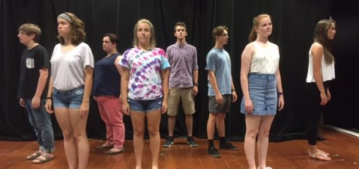 Cast members of Carmel High School's The Amish Project stand in their opening positions. (Submitted photo)