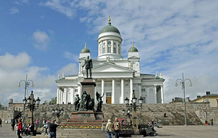Helsinki Cathedral and statue of Czar Alexander II . (Photo by Don Knebel)