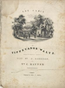 A book of music that features a little drawing of Harrison, a log cabin and hard cider. (Image courtesy of the Collection of the Indiana State Museum and Historic Sites)