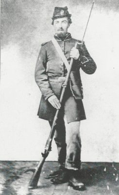 During the Civil War, almost 100 Clay Township men signed up for military service. Most aligned with the Union, like this unidentified solider. About seven, however, chose the Confederacy. (Photo courtesy of the Carmel Clay Historical Society)