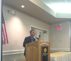Crooked Stick Golf Course Director of Operations Tony Pancake speaks to the Carmel Rotary Club July 22. (Photo by Adam Aasen)