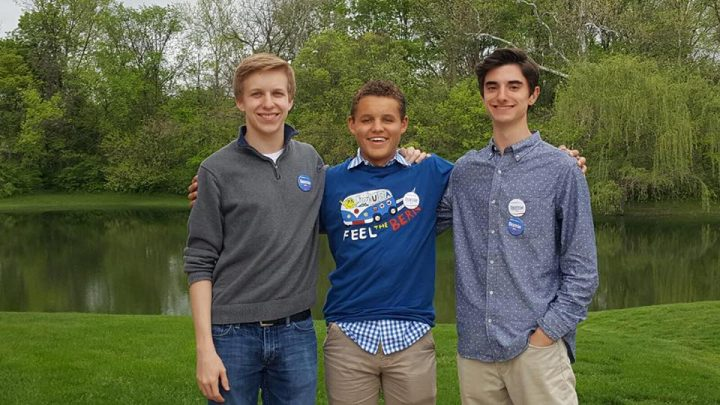 From left, Cole Ferguson, Noah Huber and Brian Hancock organized the Carmel High School Democrats. (Submitted photo)