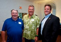 From left, Clay Township trustee Doug Callahan, Carmel Judge Brian Poindexter and Hamilton County Commissioner Mark Heirbrandt at the 2015 Beach Bash. (Submitted photo)