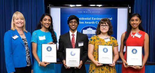 From left, Sue Maki, Sitha Vallabhaneni, Shiva Vallabhaneni, Eden Szydlowski and Laasya Mamidipalli at the White House. (Submitted photo)