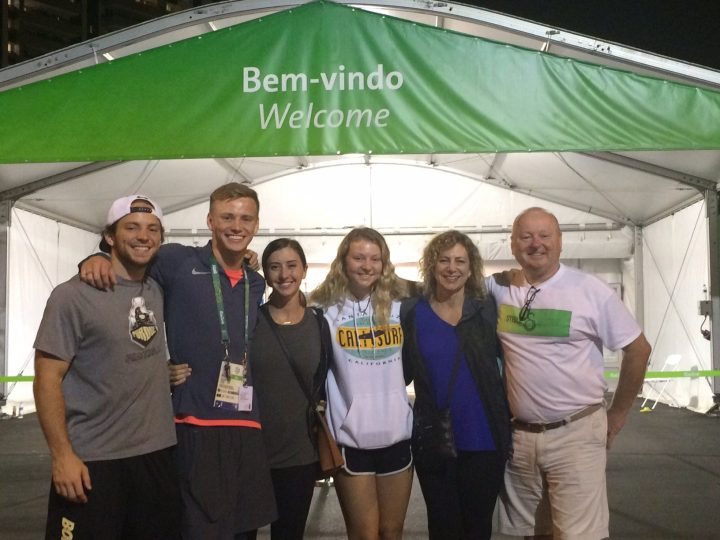 From left, Race Johnson, Steele Johnson, Hilary Nussbaum, Hollyn Johnson, Jill Johnson and Bill Johnson in Rio. (Submitted photo)