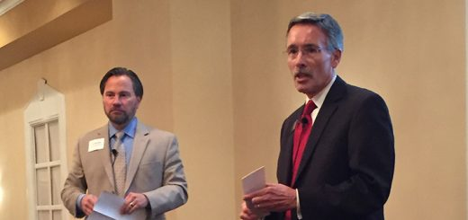 Dr. Nick Wahl and Dr. Allen Bourff present the State of the Schools Sept. 14. (Photo by Anna Skinner)