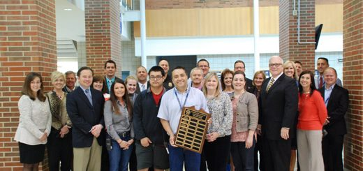 CCS honored Roberto Arreola Mandujano, center, as the 2016 Support Staff Employee of the Year during a surprise ceremony in May. (Submitted photo)