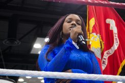 Jamera Robinson sings the national anthem in July at the Indiana Black Expo before the amateur boxing showcase. (Photo by Jason Conerly)