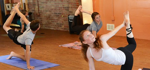 Anna Limauro of Carmel teaches a yoga class at Blooming Life Yoga Studio in Zionsville. Limauro is among the youngest yoga instructors in the state. (Photo by Theresa Skutt)