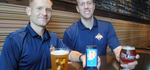 The Indiana on Tap app launched Aug. 17. From left, Steve Williams, Tasting Society Marketplace director, and Justin Knepp, Indiana on Tap founder. (Photo by Anna Skinner)