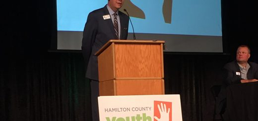 Terry Anker, president of Legacy Fund of Hamilton County, speaks at the event. (Photo by Anna Skinner)