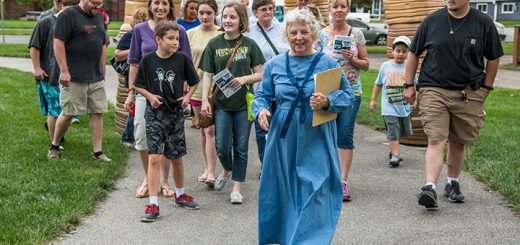 Judi Stanley Shuck leads a group of attendees through the downtown Westfield tour. (Submitted photo by Beth Maier)