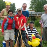 From left, Jill Robertson, Connie Shaver, Dave Shaver, Mike Robertson, Mike Leslie and Steve Haines in 2014 as they prepare to begin the journey to canoe the entire Wabash River. (Submitted photo)