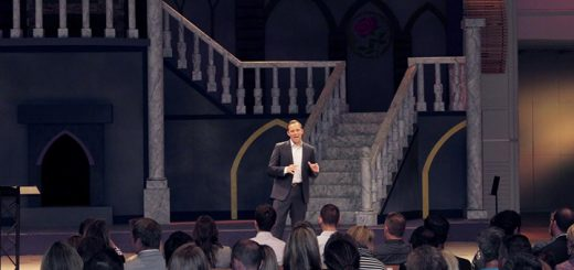 President and CEO of Edge Mentoring Dave Neff, Indianapolis, kicks off the sold-out EDGE X conference at Grace Church in Noblesville.