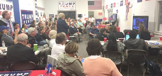 Donald Trump supporters gather at the candidate's campaign office in Carmel to watch his debate against Democratic nominee Hillary Clinton. (Photo by Adam Aasen)