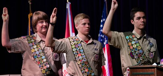 From left, Bryce Castle, Luke Hamachek and Sebby Thatcher take their oath at the Eagle Scout ceremony. (Submitted photo)