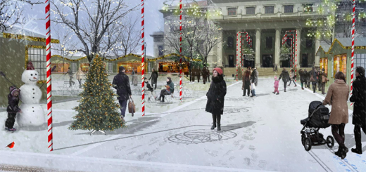 The city is planning an outdoor ice rink and space for festivals in front of the Palladium. (Submitted photo courtesy City of Carmel)