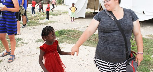 Allison Mayer, right, plays with a girl from the children's home at Nehemiah Vision Ministries in Onaville, Haiti. (Submitted photo)