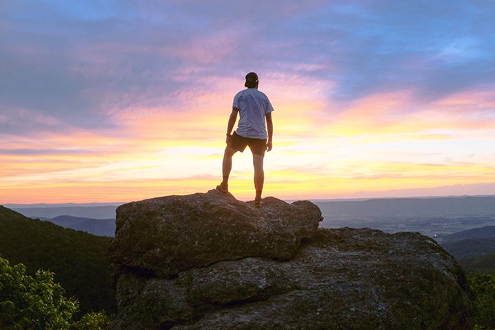 Aaron Ibey views a sunset during his hike of the Appalachian Trial in Shenandoah National Park in Virginia. (Submitted photo)
