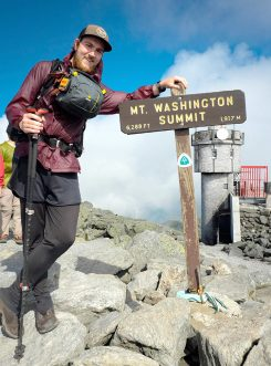 Aaron Ibey pauses at the summit of Mt. Washington in New Hampshire. (Submitted photo)
