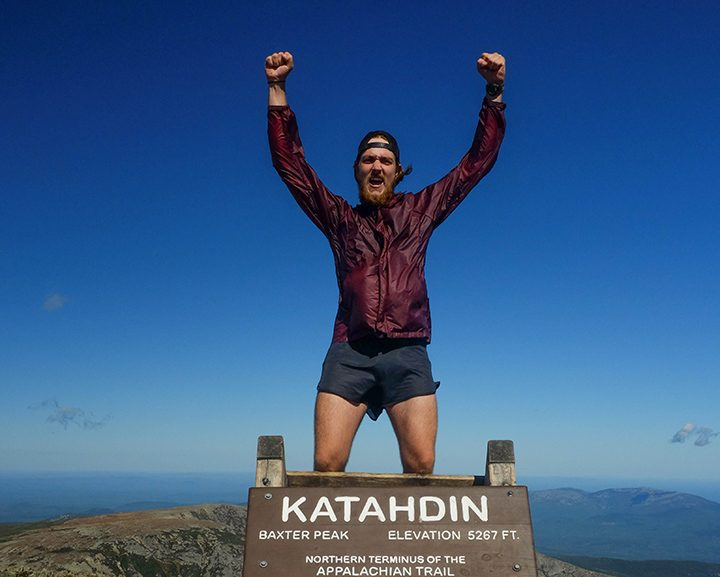 Aaron Ibey completes his hike of the Appalachian Trail at Mount Katahdin, Maine. (Submitted photo)