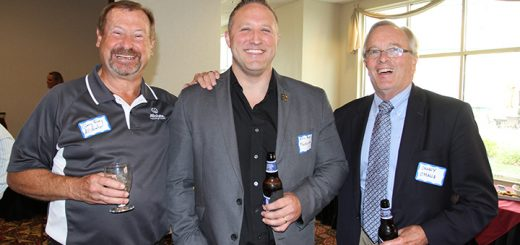 On Sept. 28, members of the OneZone Chamber of Commerce met at The Wellington for a business after hours event. Pictured, from left, Gary Frey, Eric Rose and Danny O'Malia. (Photos by Sadie Hunter)