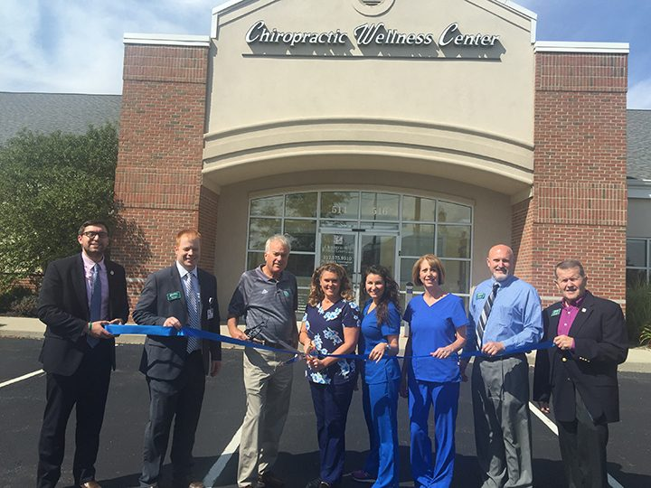 From left, President of the Westfield Chamber of Commerce Jack Russell, Chairman Tom Dooley, Mayor Andy Cook, Chiropractic Assistant Lana Murphy, Office Manager Shae Lockridge, Dr. Sandra K. Cunningham, Vice Chairman Rob Garrett, and Steve Benedict. (Submitted photo)