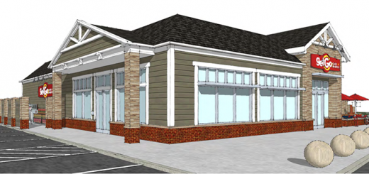 A rendering of the GetGo gas station. The architectural designs are said to have a village-like feel to match the Harmony neighborhood. (Submitted rendering)