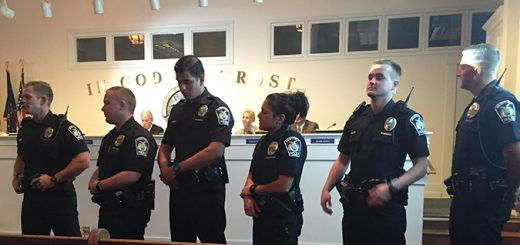 Chief Joel Rush provided a public safety update at the Oct. 10 city council meeting and the six newest police officers introduced themselves. (Photo by Anna Skinner)