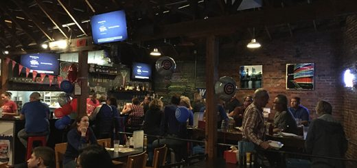 Chicago Cubs fans enjoy watching Game 2 of the World Series at Rush on Main. The Cubs beat the Cleveland Indians 5-1. (Photo by Nick Poust)