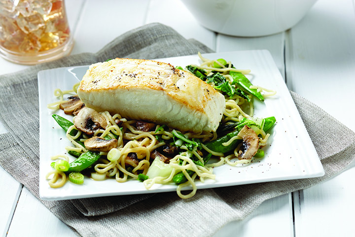 Miso halibut with soba noodle stir fry current publishing for Ankers fish fry