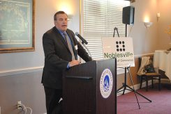 Riverview Health CEO Seth Warren presents on the state of the county hospital. (Photo by Anna Skinner)