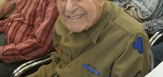 Charlie Schweitzer, a 99-year-old veteran who served in Gen. George S. Patton's Seventh Army, was the oldest veteran to be honored during the ceremony at the Barrington of Carmel. (Photo by Heather Collins)