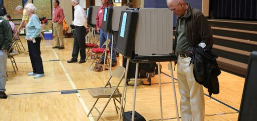 A voter casts a ballot at Forest Dale Elementary on Nov. 8. (Photo by Ann Marie Shambaugh)