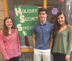 From left, Holiday Secret Shop committee managers Hannah Costlow, Mitch Jenson and Lauren Reilly. (Submitted photo)
