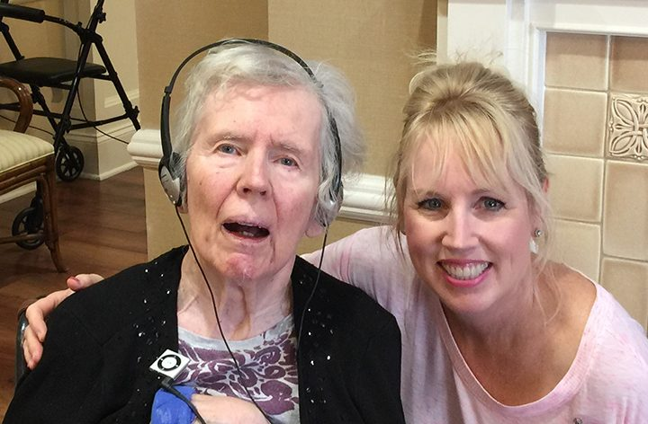 From left, Mary Best listens to music alongside her daughter, Christine Perkins. (Submitted photo)