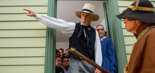 Actors Mike and Shirley Schmidt of Fishers portray Levi and Rachael Holsey. The Holseys are Quakers who tell a slave catcher they are not housing any fugitive slaves in their home during Conner Prairie's 'Follow the North Star' program. (Submitted photo)