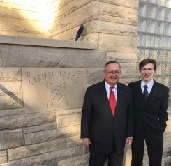 Jacob Hamblen Monninger was presented with the ceremonial gavel by his grandfather, Thomas R. Hamblen, a 32nd degree Freemason. (Submitted photo)