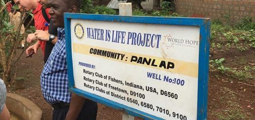 A sign in Sierra Leone marking the 100th well provided by the Fishers Rotary. (Submitted photo)