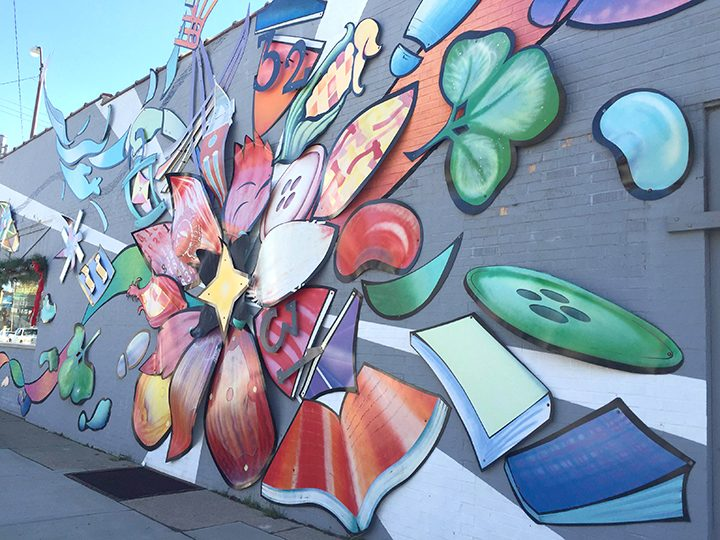 The Westfield Blossoms mural on the north side of Union Street Flowers and Gifts, also completed by Blice Edwards.