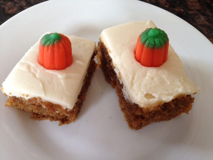 Pumpkin bars provide an option for a Thanksgiving tailgate. (Submitted photo)