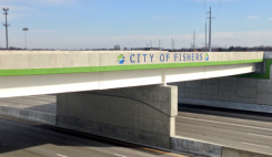 A City of Fishers logo is featured on the southern side of the 106th Street interchange. (Submitted photos)