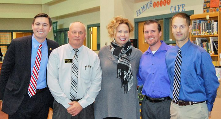 From left, Jack Russell, Jeff Griffin, Stacy McGuire, Dan Dougherty and Matt Putman recently announced a partnership with Purdue Polytechnic Institute, the Westfield Chamber of Commerce and Westfield High School. (Submitted photo)