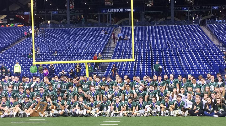 Westfield football team celebrates its Class 5A state title Nov. 26 at Lucas Oil Stadium. (Photo by Mark Ambrogi)