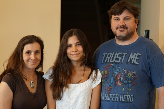 Maria Vittoria Basile pauses with her host family, Matt and Renee Goff. (Submitted photos)