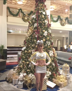 Jason Ward received a $500 grant from the Indiana State Police Alliance to aid in his daughter's cheerleading at Ice All-Stars Cheerleading in Westfield. Pictured, Alexyea Ward recently visited New York as part of her cheerleading program. (Submitted photo)