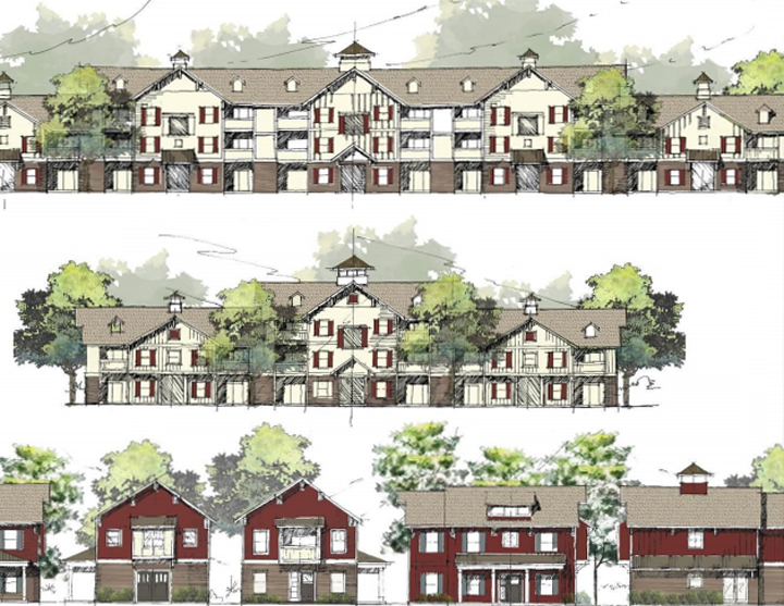 Architectural character exhibits of the multi-family area. The units in the area have been reduced to 224, minimum and maximum square footage has been set, and the ground must be transferred to an apartment developer within three years from the development's effective date. (Source: westfield.in.gov)